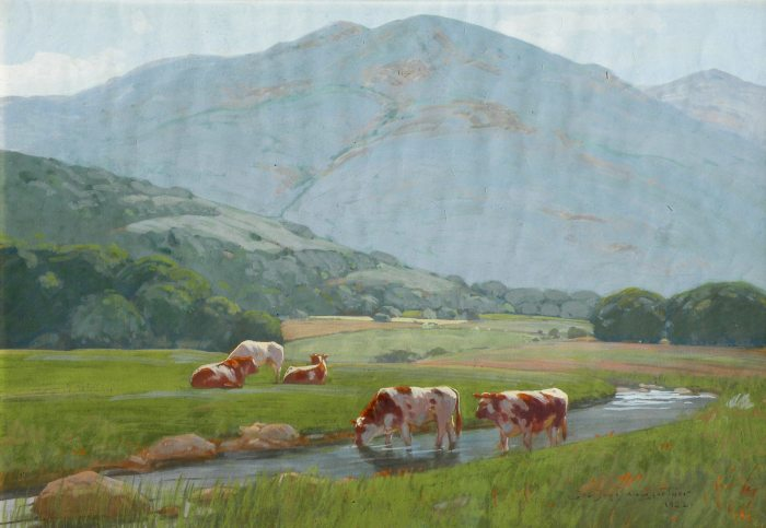 John J. Baumgartner Spring Afternoon cows along stream