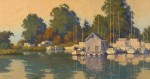 Paul Kratter Owl Harbor Light 15x28 oil w