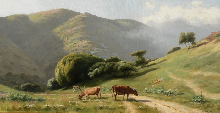 Thaddeus Welch - Cows Grazing Road to Bolinas