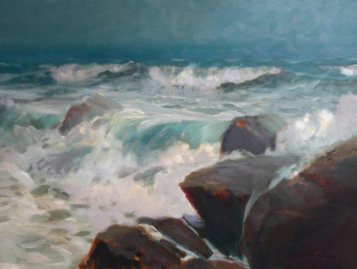 F. Michael Wood Breaking Light Seascape