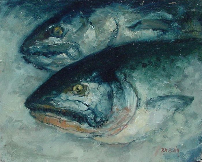 Don Ealy - Salmon Heads in Blue